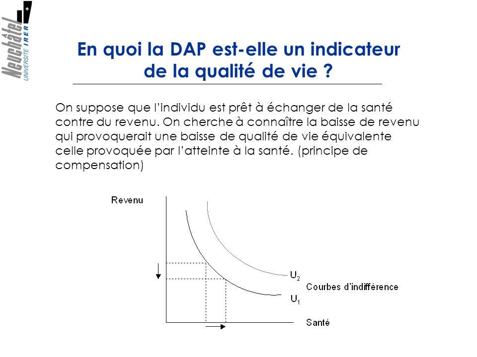 En quoi la DAP est-elle un indicateur de la qualité de vie