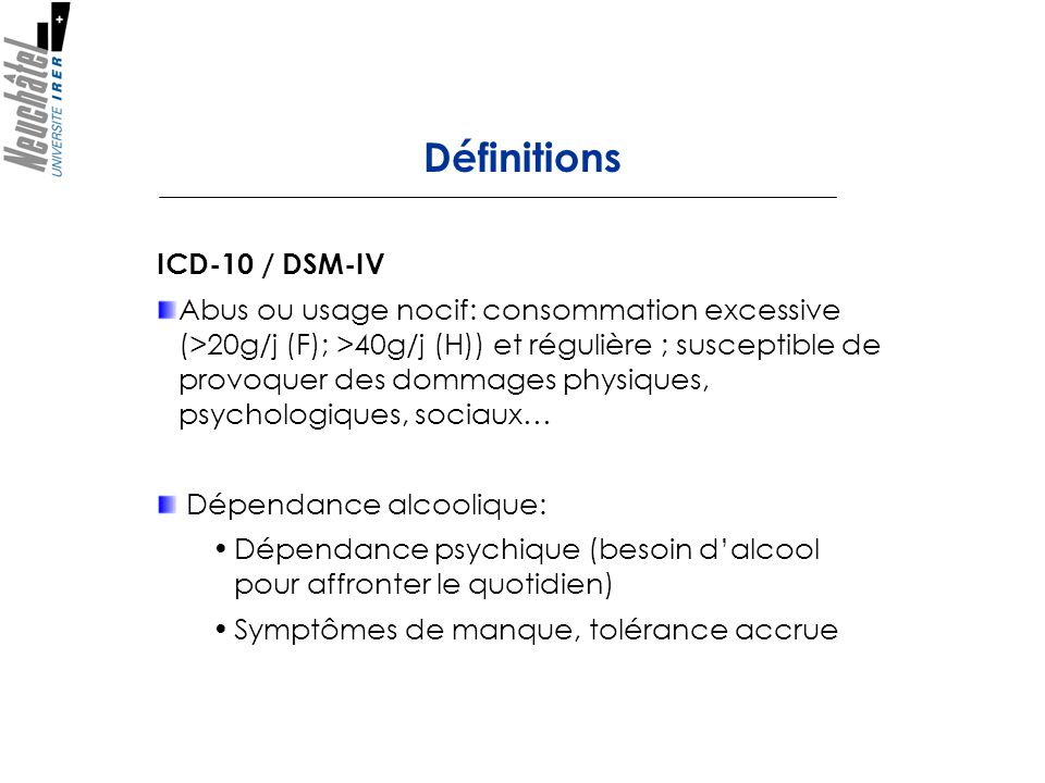 Définitions ICD-10 / DSM-IV