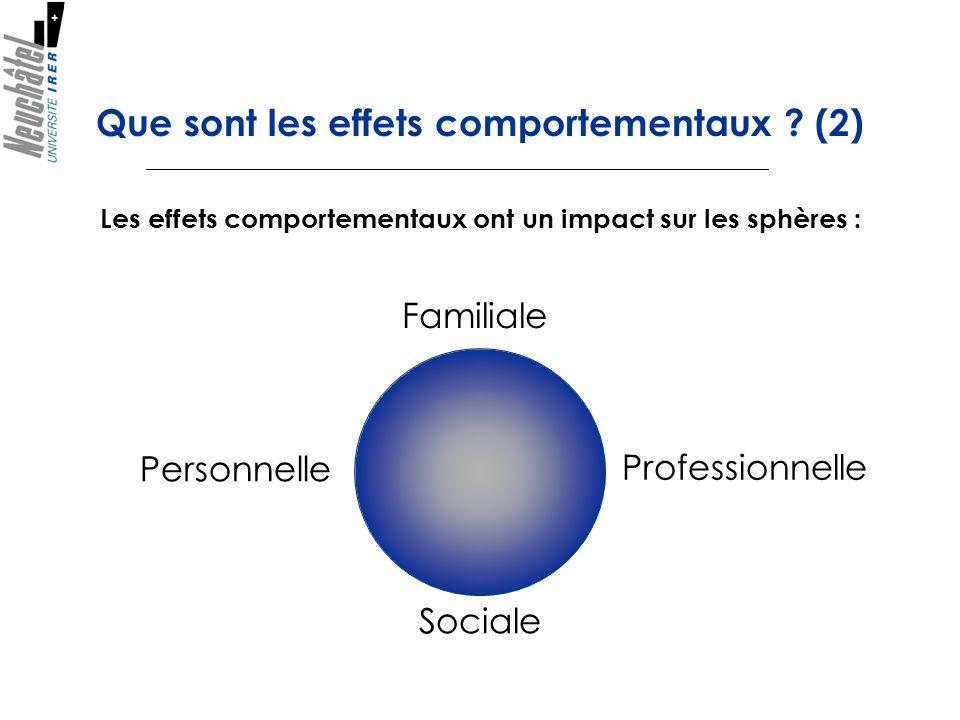 Que sont les effets comportementaux (2)