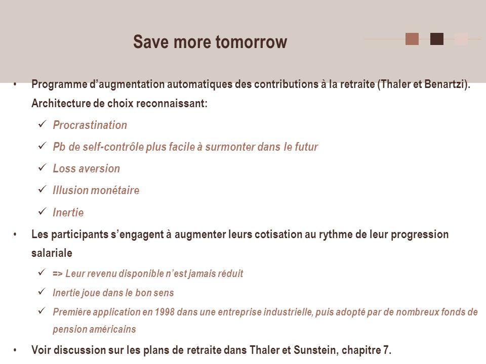 Save more tomorrow Programme d'augmentation automatiques des contributions à la retraite (Thaler et Benartzi). Architecture de choix reconnaissant: