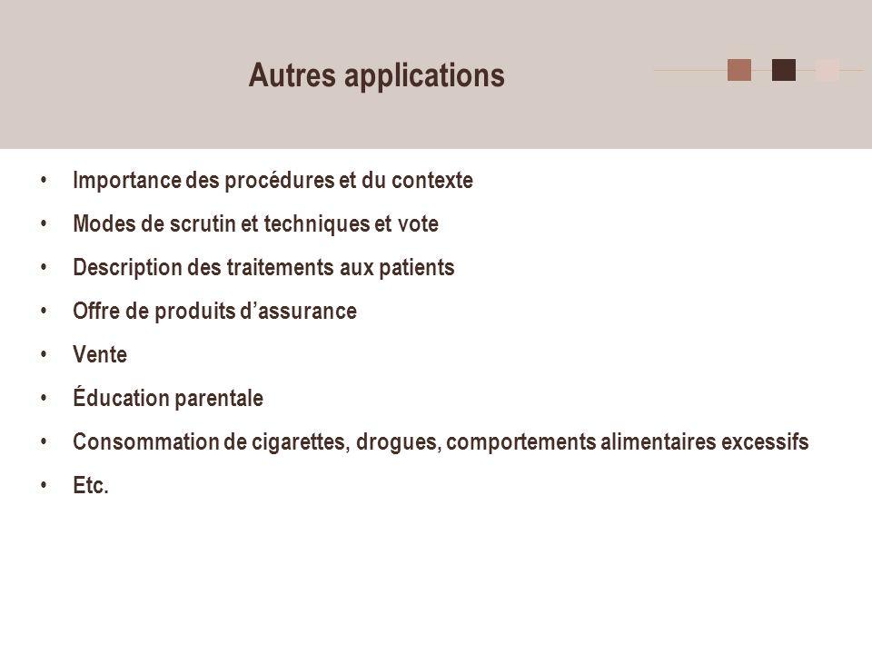 Autres applications Importance des procédures et du contexte