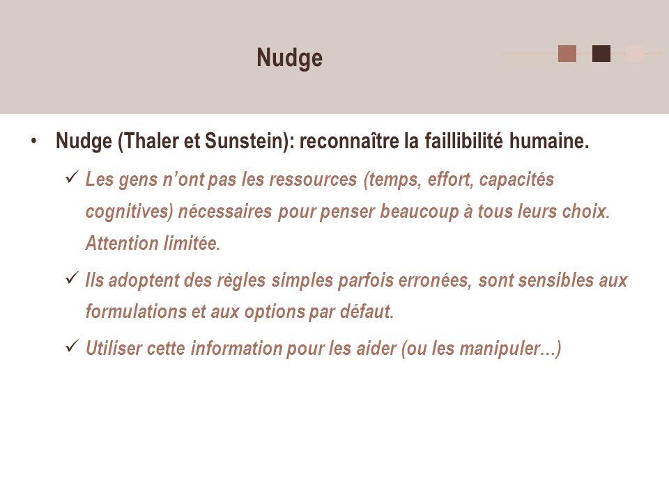 Nudge Nudge (Thaler et Sunstein): reconnaître la faillibilité humaine.
