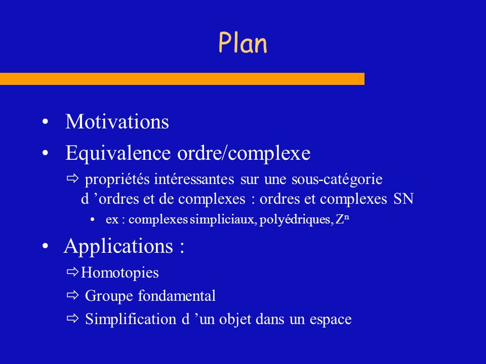 Plan Motivations Equivalence ordre/complexe Applications :