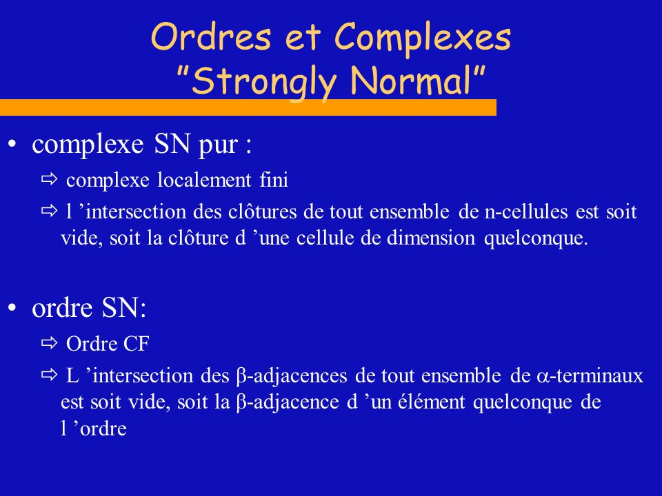 Ordres et Complexes Strongly Normal