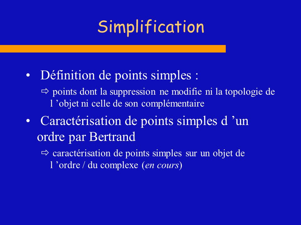 Simplification Définition de points simples :