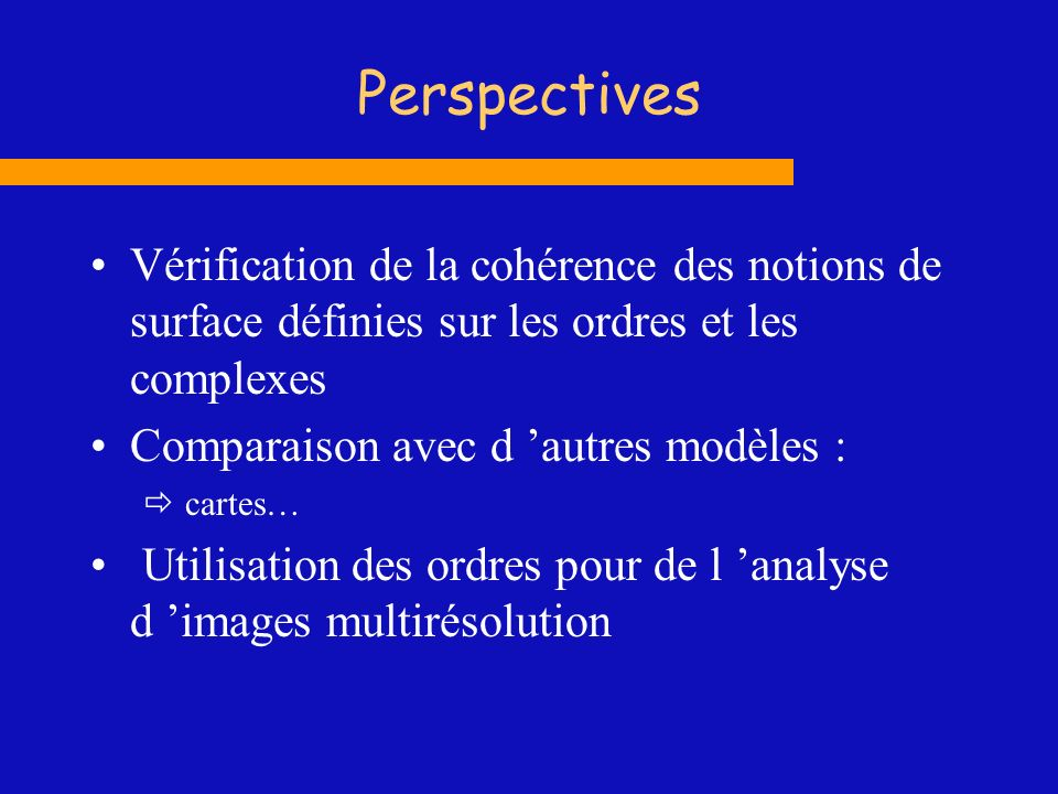 Perspectives Vérification de la cohérence des notions de surface définies sur les ordres et les complexes.