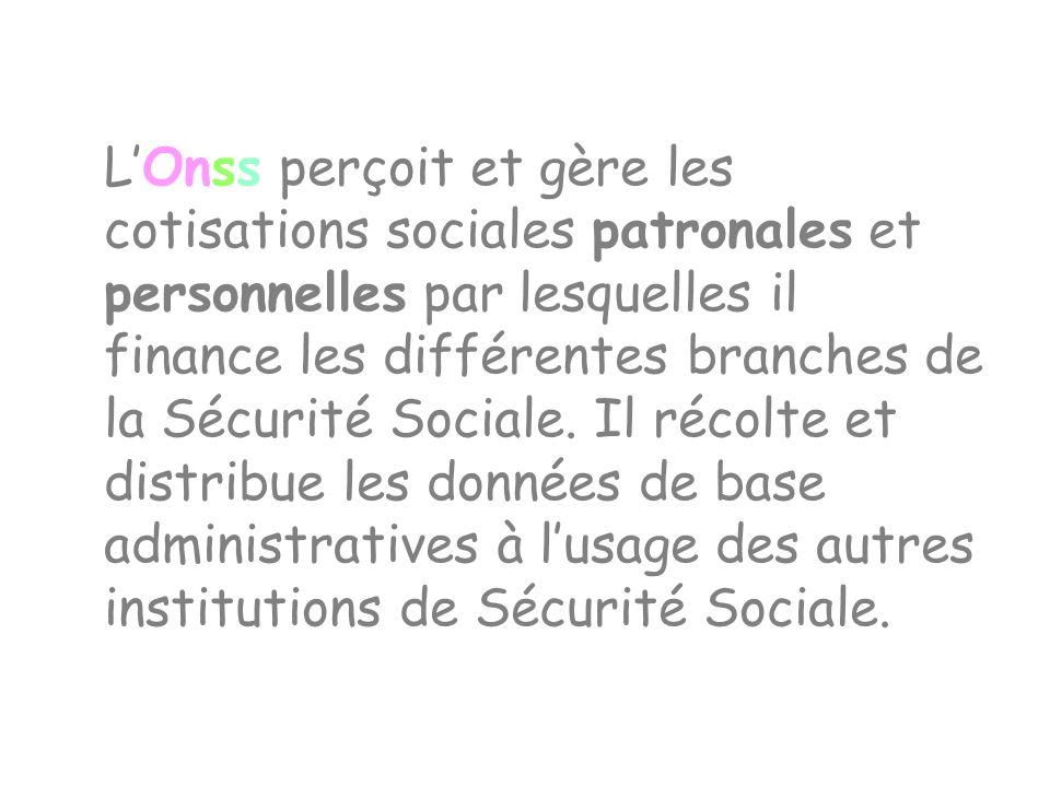 L'Onss perçoit et gère les cotisations sociales patronales et personnelles par lesquelles il finance les différentes branches de la Sécurité Sociale.