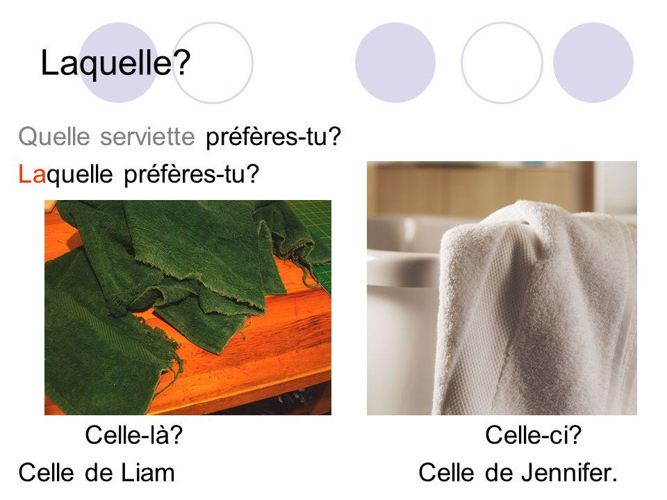Laquelle Quelle serviette préfères-tu Laquelle préfères-tu
