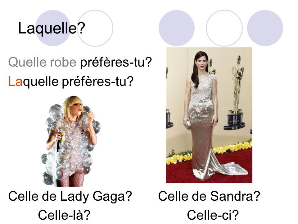Laquelle Quelle robe préfères-tu Laquelle préfères-tu