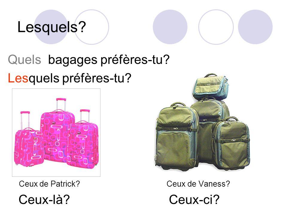 Lesquels Quels bagages préfères-tu Lesquels préfères-tu