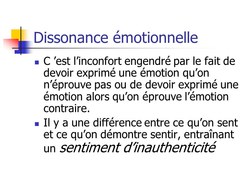 Dissonance émotionnelle