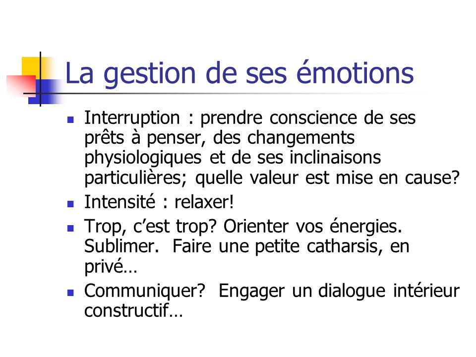 La gestion de ses émotions