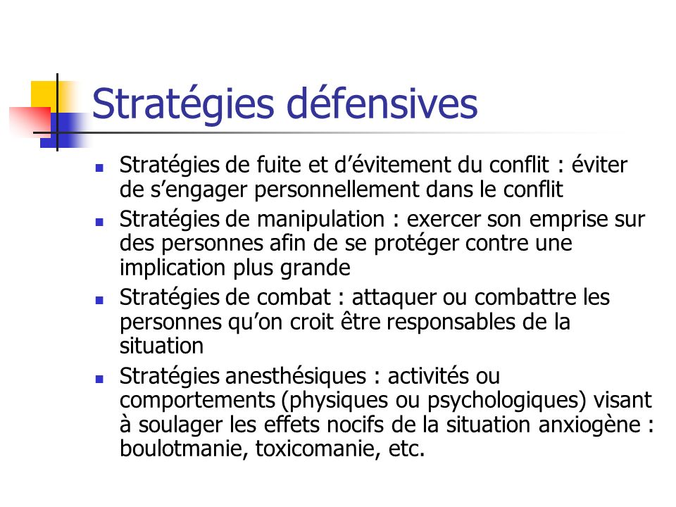Stratégies défensives