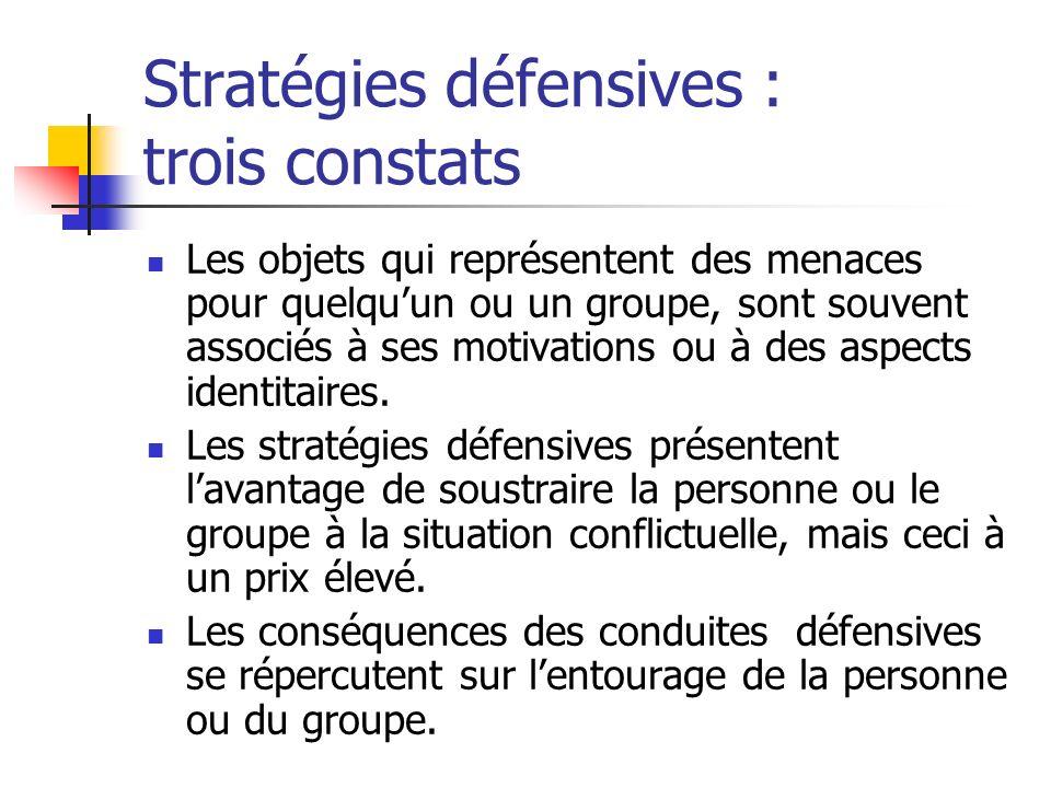 Stratégies défensives : trois constats