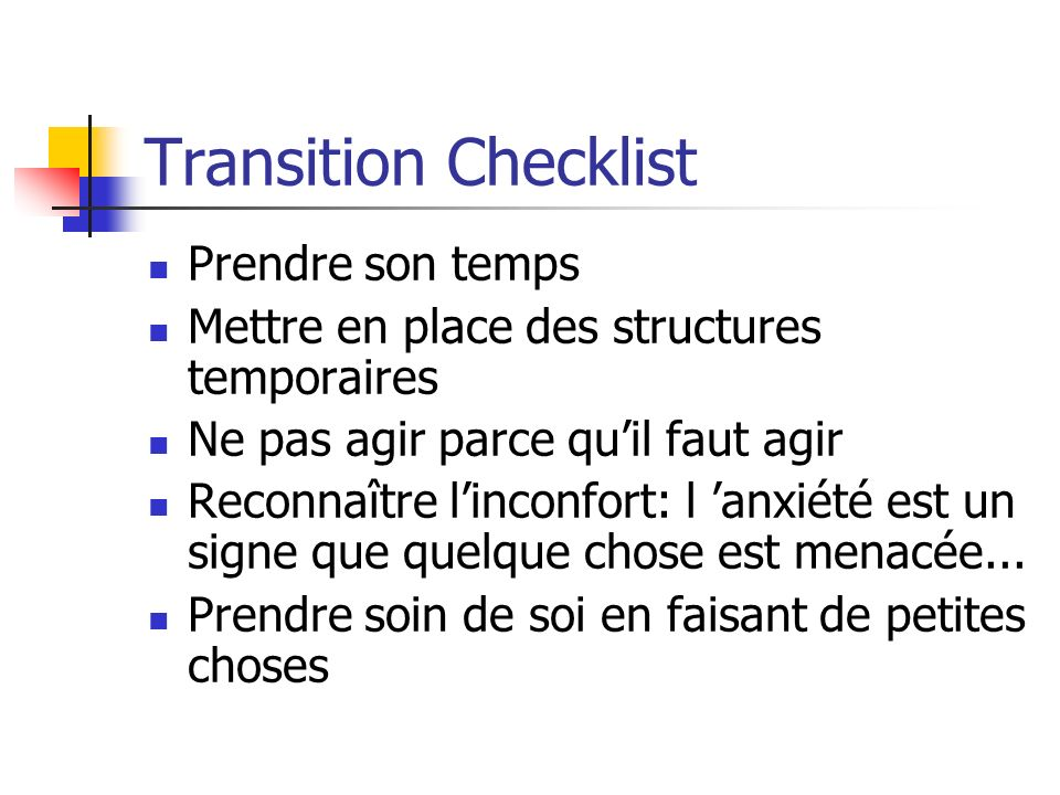 Transition Checklist Prendre son temps