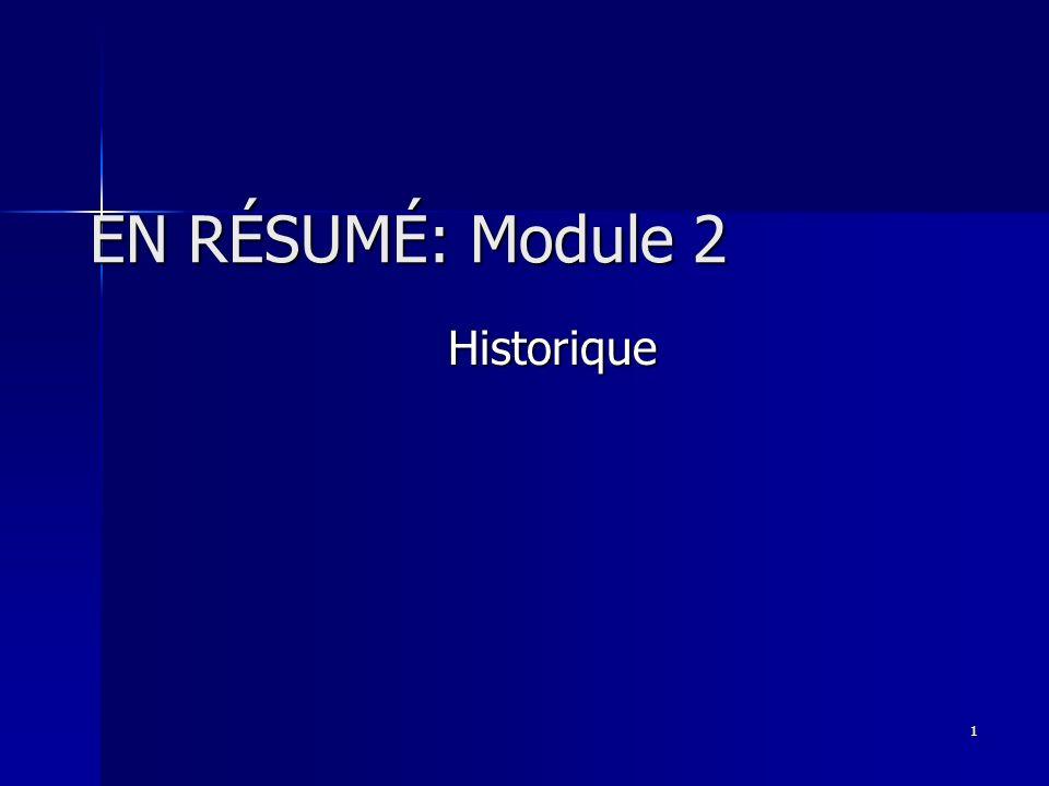 EN RÉSUMÉ: Module 2 Historique