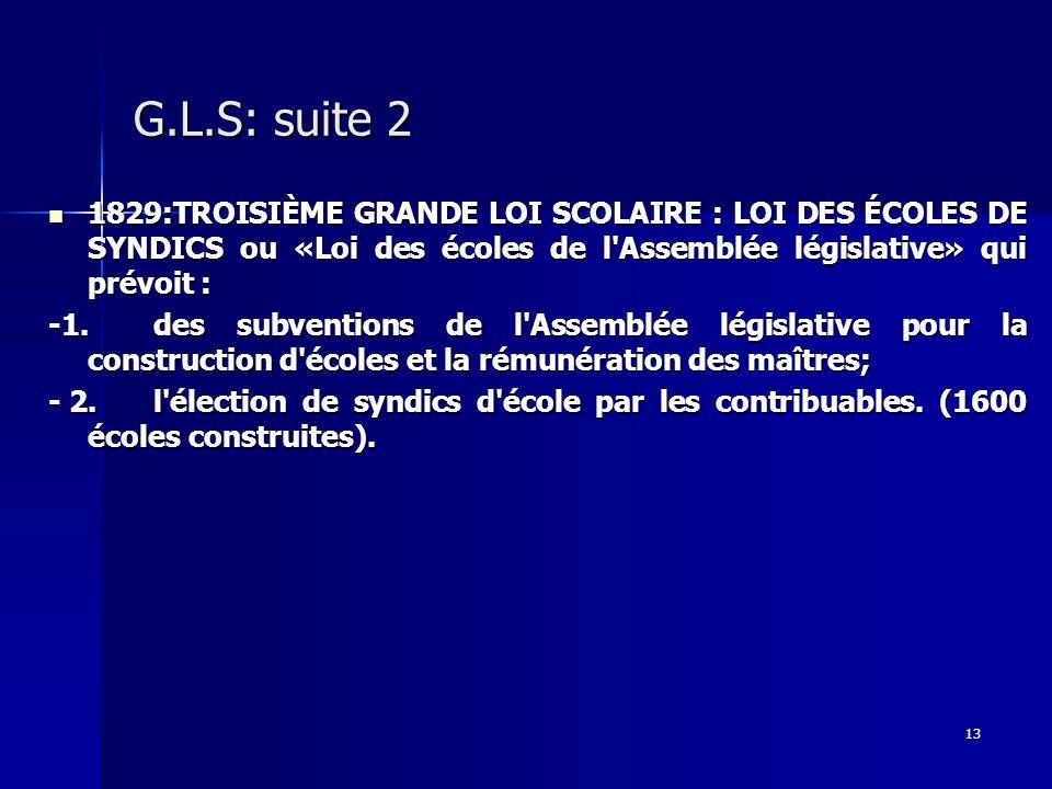 G.L.S: suite 2 1829:TROISIÈME GRANDE LOI SCOLAIRE : LOI DES ÉCOLES DE SYNDICS ou «Loi des écoles de l Assemblée législative» qui prévoit :