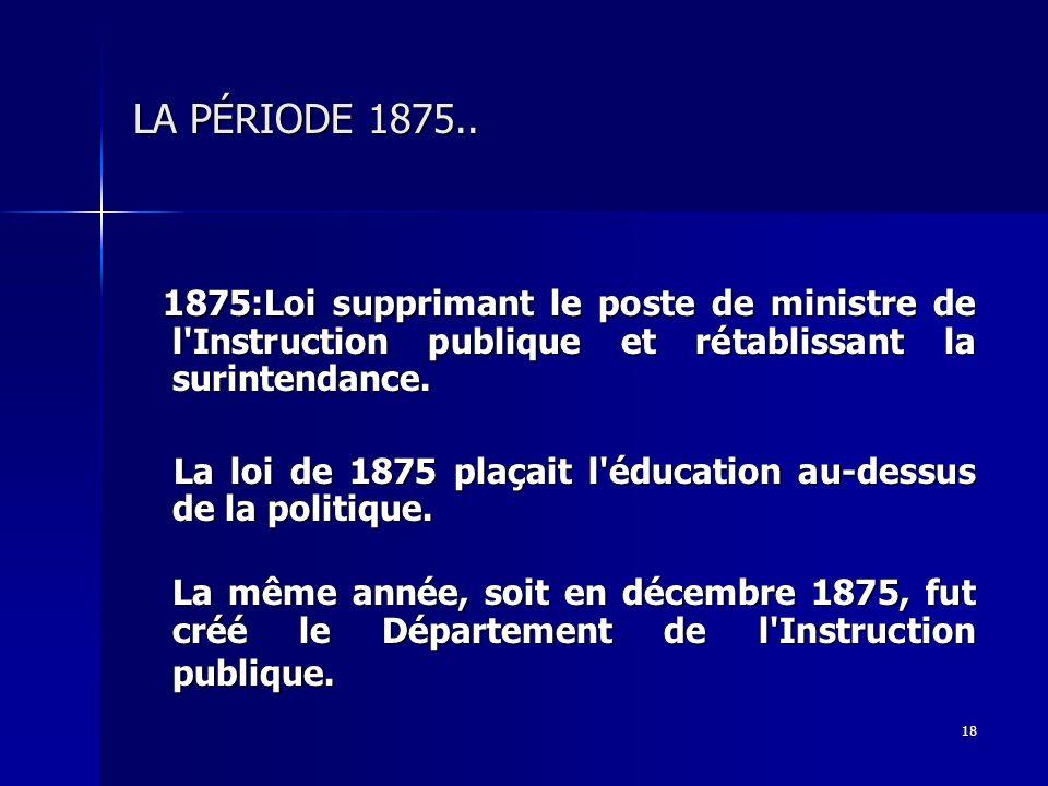LA PÉRIODE 1875.. 1875:Loi supprimant le poste de ministre de l Instruction publique et rétablissant la surintendance.
