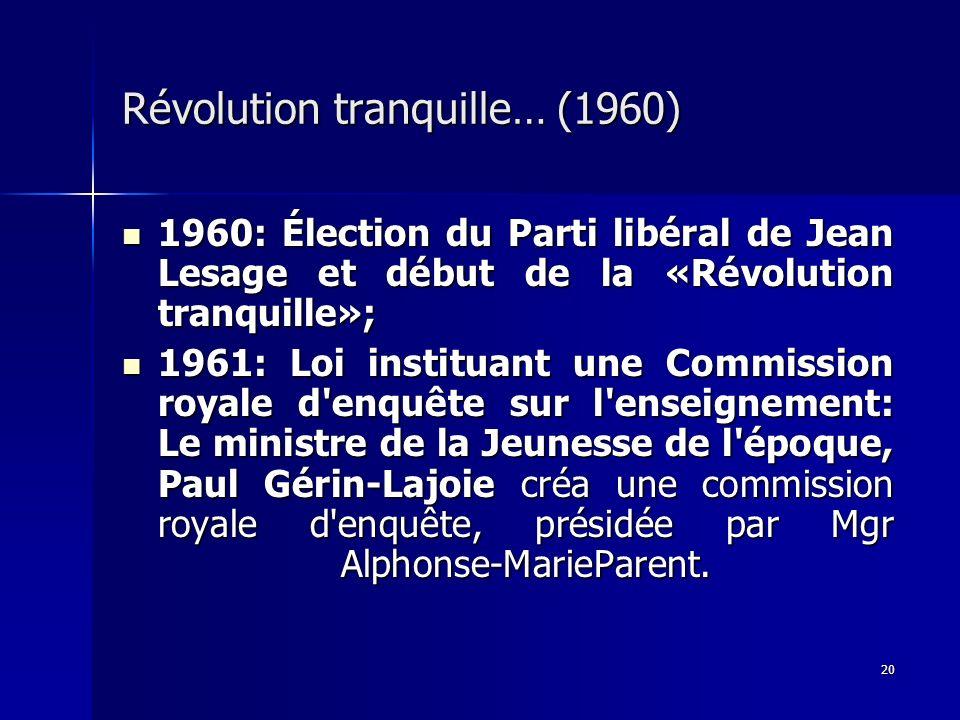 Révolution tranquille… (1960)