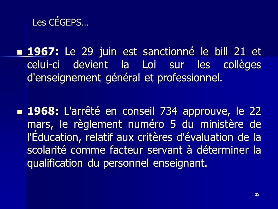 Les CÉGEPS… 1967: Le 29 juin est sanctionné le bill 21 et celui-ci devient la Loi sur les collèges d enseignement général et professionnel.