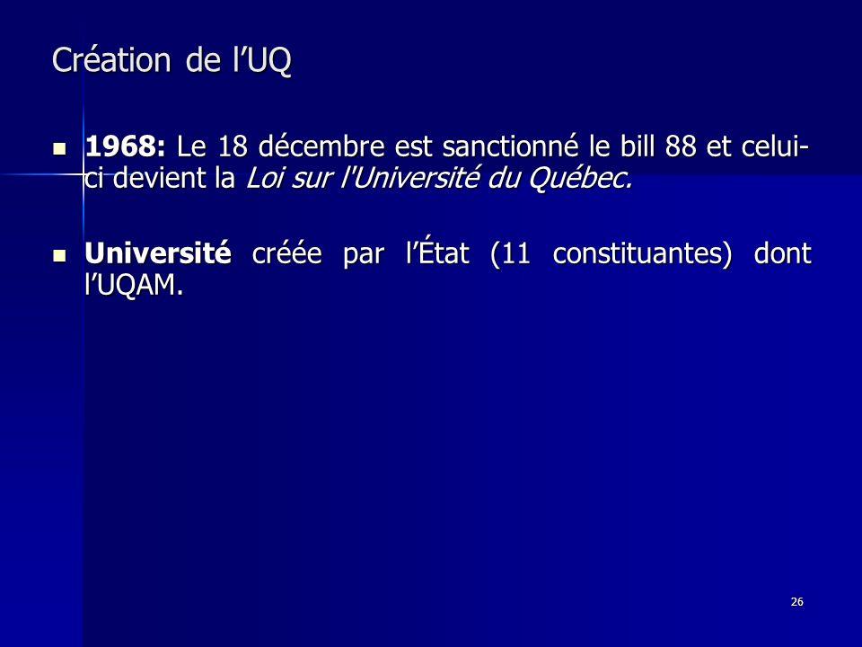 Création de l'UQ 1968: Le 18 décembre est sanctionné le bill 88 et celui-ci devient la Loi sur l Université du Québec.