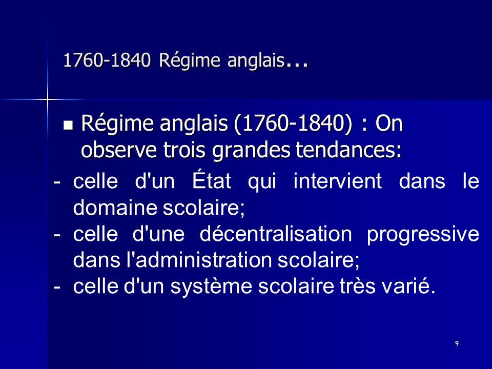 Régime anglais (1760-1840) : On observe trois grandes tendances: