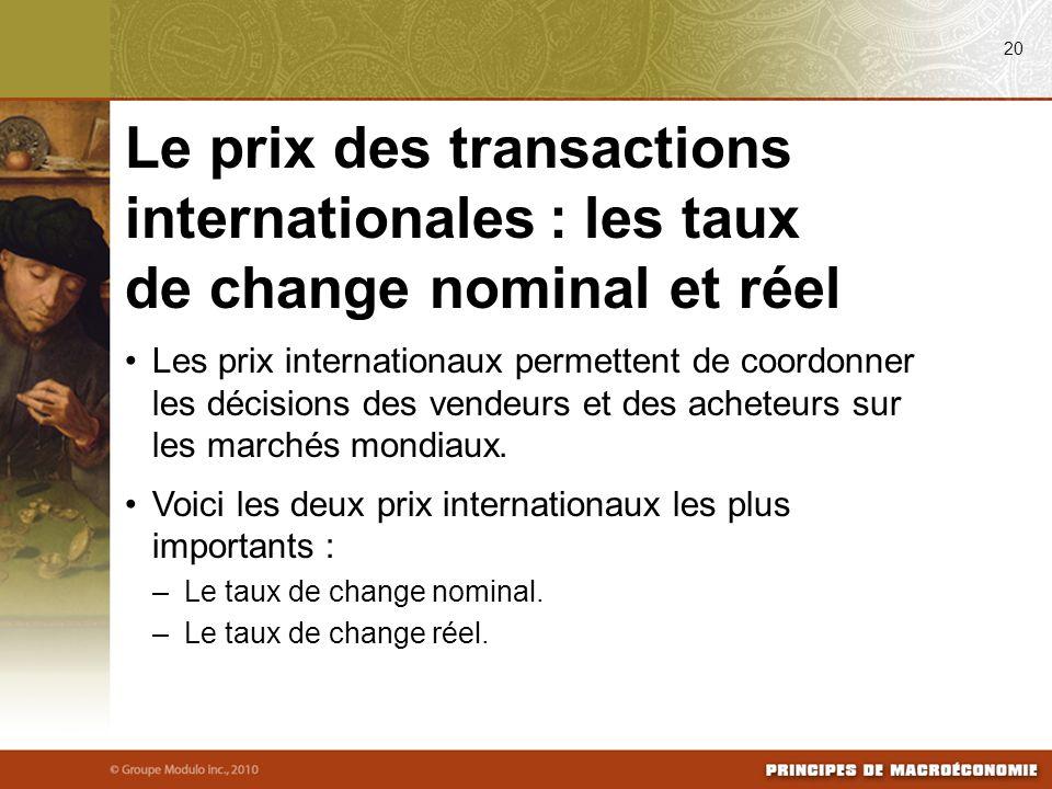 08/24/09 20. Le prix des transactions internationales : les taux de change nominal et réel.