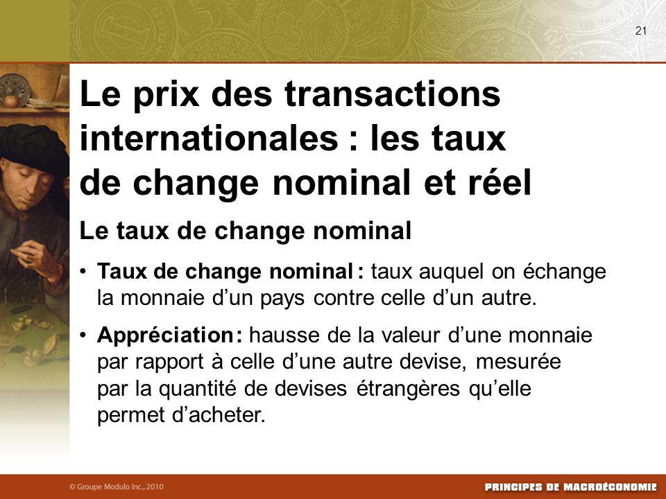 08/24/09 21. Le prix des transactions internationales : les taux de change nominal et réel. Le taux de change nominal.