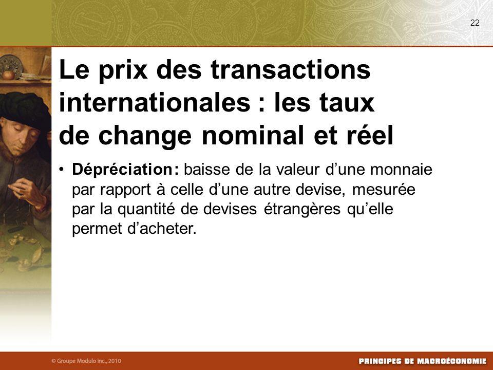 08/24/09 22. Le prix des transactions internationales : les taux de change nominal et réel.