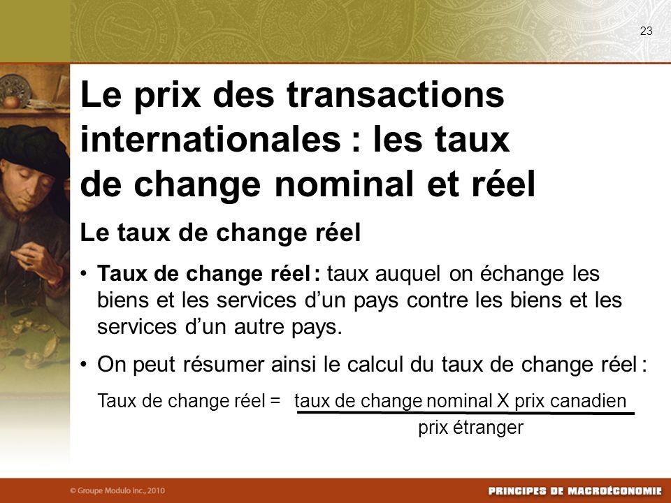 08/24/09 23. Le prix des transactions internationales : les taux de change nominal et réel. Le taux de change réel.