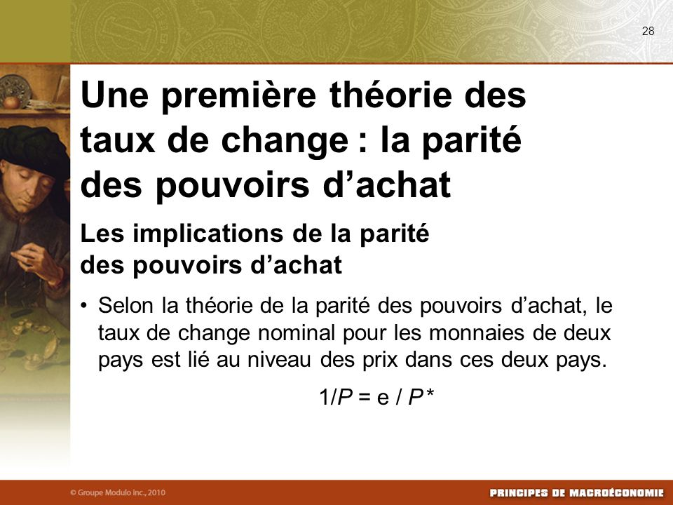 08/24/09 28. Une première théorie des taux de change : la parité des pouvoirs d'achat. Les implications de la parité des pouvoirs d'achat.