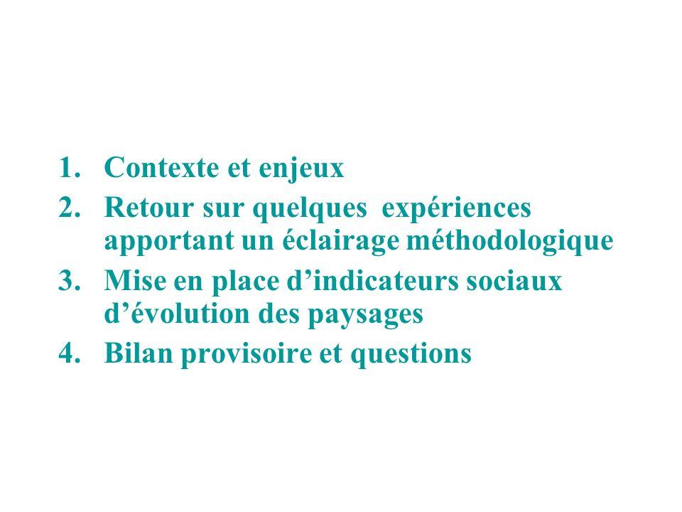 Contexte et enjeux Retour sur quelques expériences apportant un éclairage méthodologique.