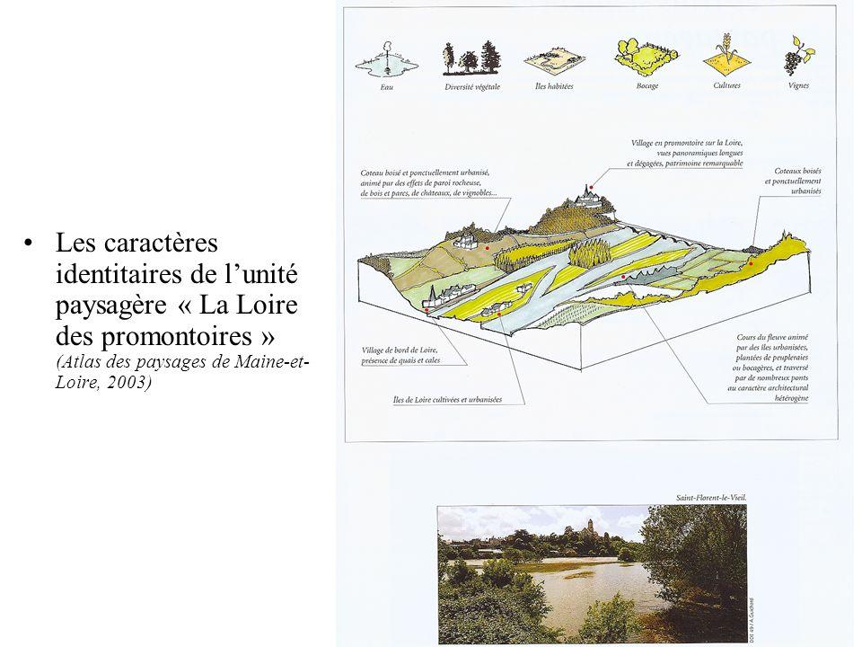 Les caractères identitaires de l'unité paysagère « La Loire des promontoires » (Atlas des paysages de Maine-et-Loire, 2003)