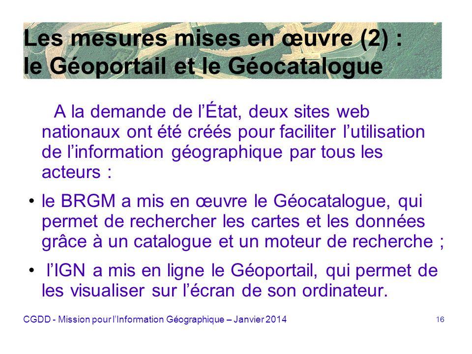 Les mesures mises en œuvre (2) : le Géoportail et le Géocatalogue