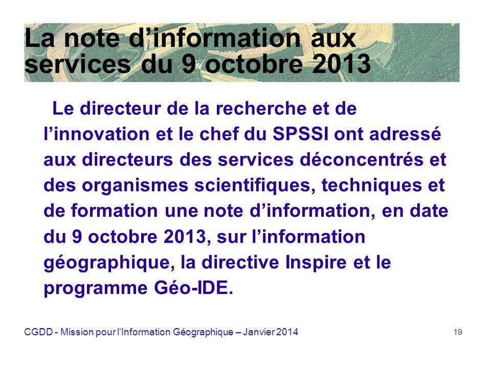 La note d'information aux services du 9 octobre 2013