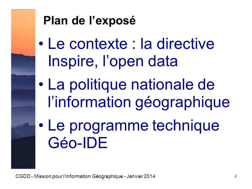 Le contexte : la directive Inspire, l'open data