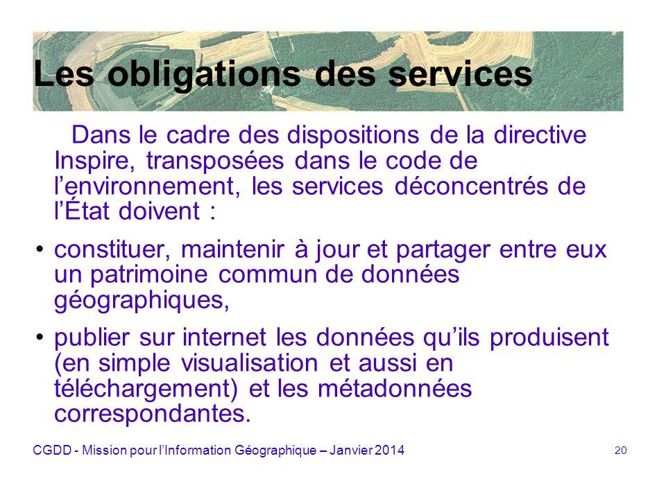 Les obligations des services