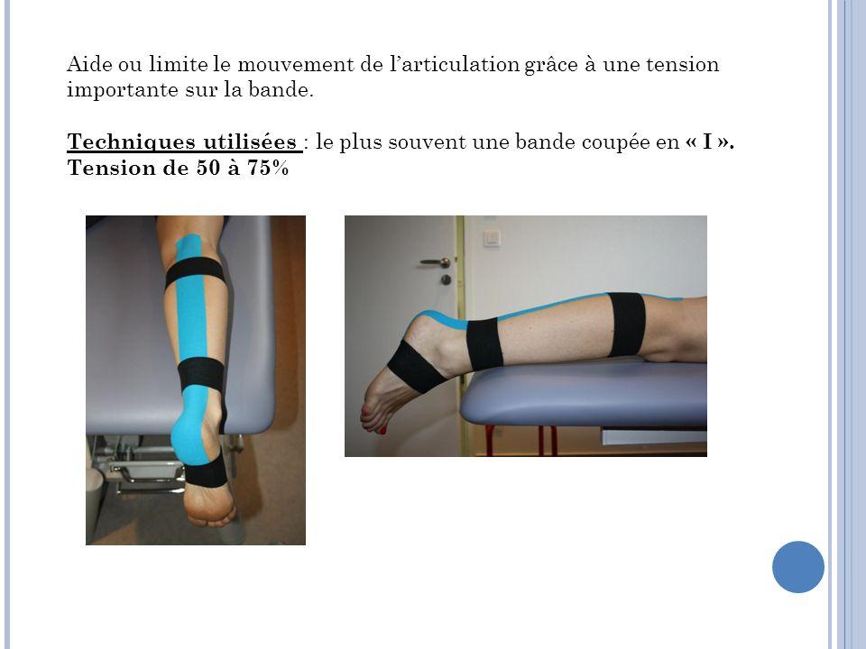 Aide ou limite le mouvement de l'articulation grâce à une tension importante sur la bande.