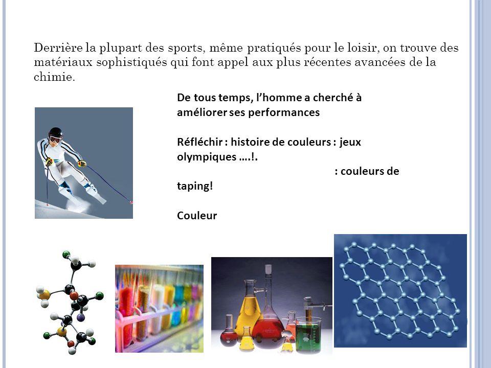 Derrière la plupart des sports, même pratiqués pour le loisir, on trouve des matériaux sophistiqués qui font appel aux plus récentes avancées de la chimie.