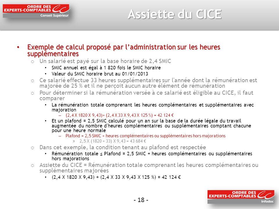 Assiette du CICE Exemple de calcul proposé par l'administration sur les heures supplémentaires. Un salarié est payé sur la base horaire de 2,4 SMIC.