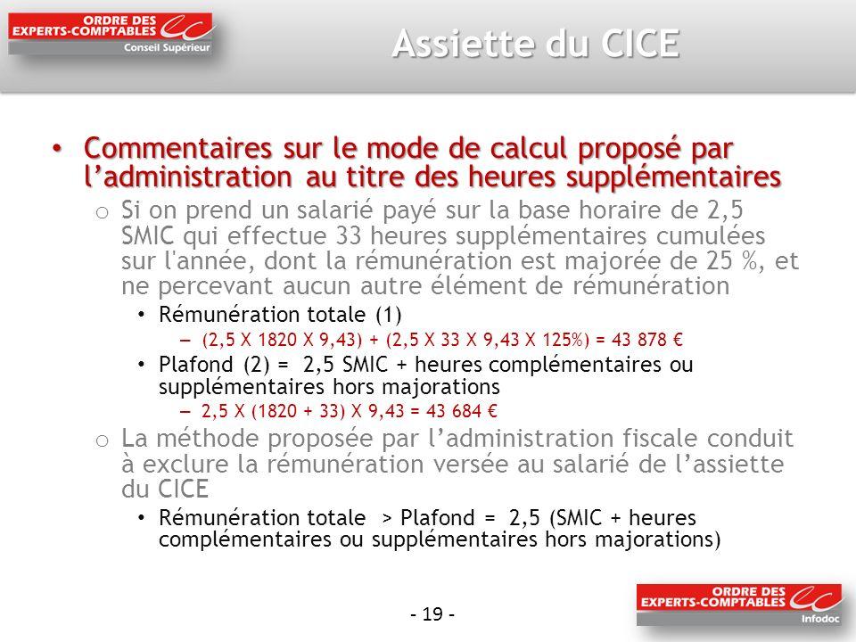 Assiette du CICE Commentaires sur le mode de calcul proposé par l'administration au titre des heures supplémentaires.