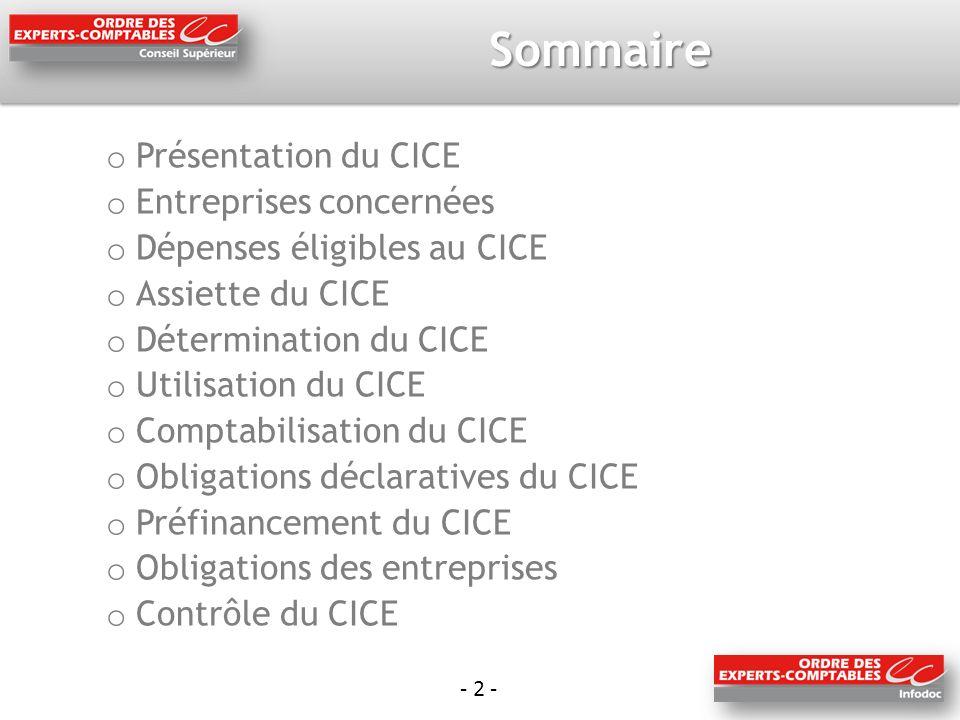 Sommaire Présentation du CICE Entreprises concernées