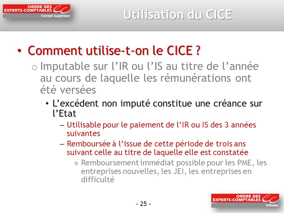 Comment utilise-t-on le CICE