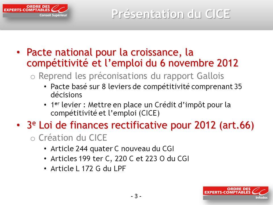Présentation du CICE Pacte national pour la croissance, la compétitivité et l'emploi du 6 novembre 2012.