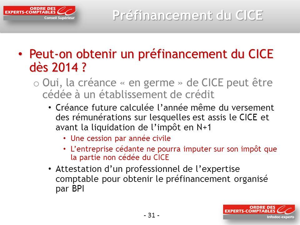 Préfinancement du CICE