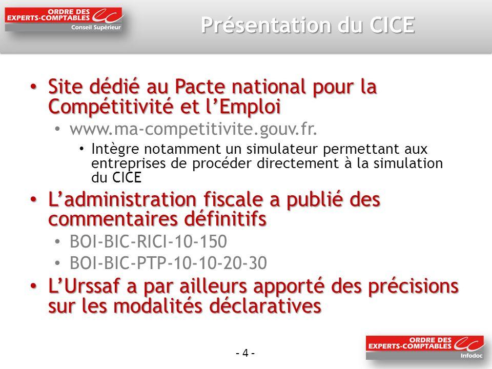 Présentation du CICE Site dédié au Pacte national pour la Compétitivité et l'Emploi. www.ma-competitivite.gouv.fr.
