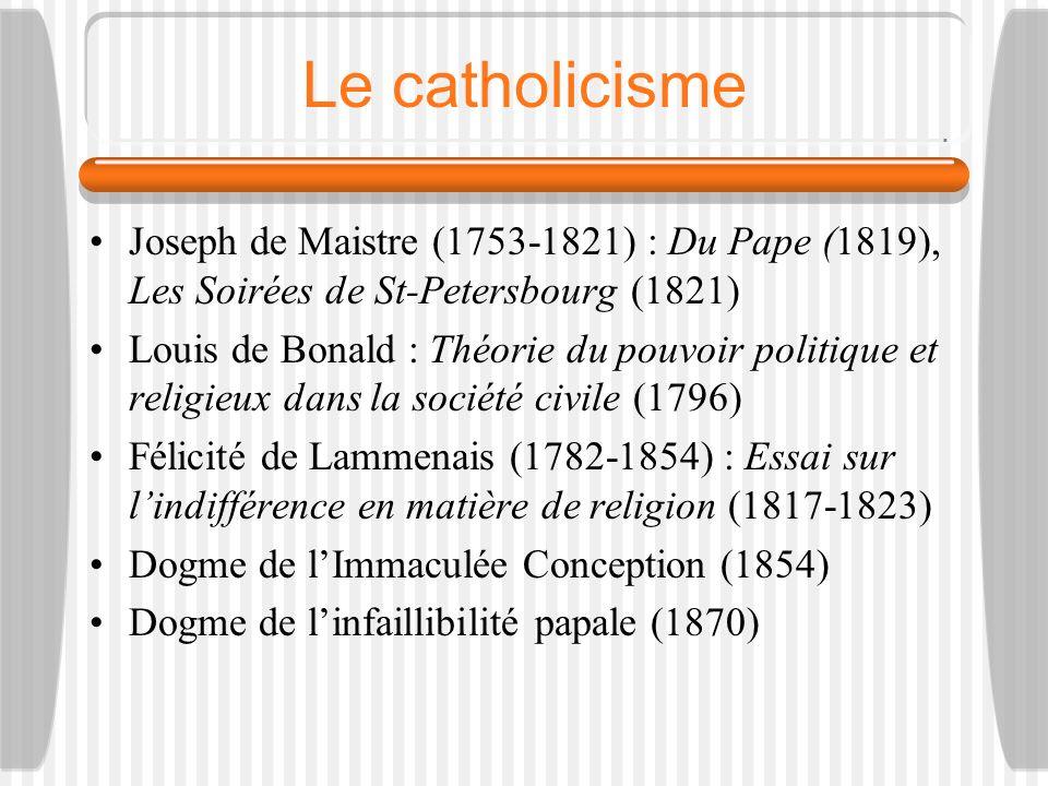Le catholicisme Joseph de Maistre (1753-1821) : Du Pape (1819), Les Soirées de St-Petersbourg (1821)