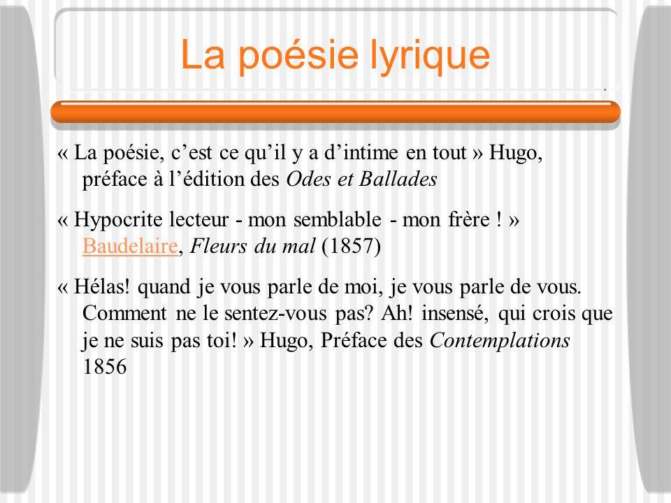 La poésie lyrique « La poésie, c'est ce qu'il y a d'intime en tout » Hugo, préface à l'édition des Odes et Ballades.