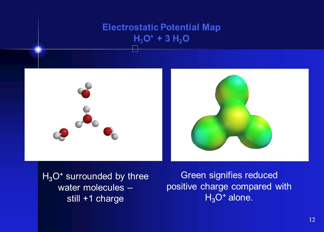 Electrostatic Potential Map H3O+ + 3 H2O