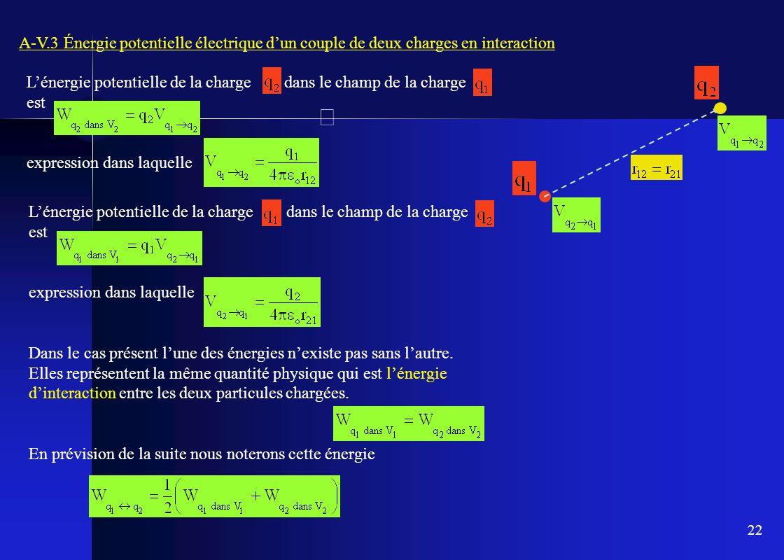 A-V.3 Énergie potentielle électrique d'un couple de deux charges en interaction